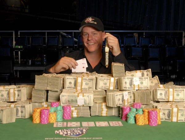 On the picture is a professional gambler who have just won $1000000.