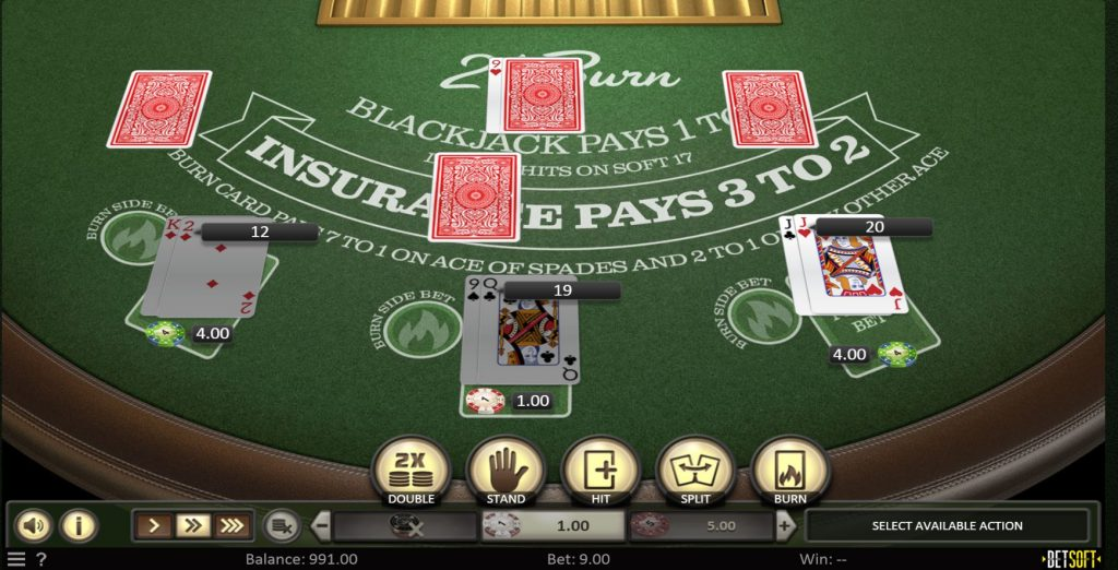 The picture shows you how to play 21 Burn Blackjack. You can read about the features and how to play the game under this picture.