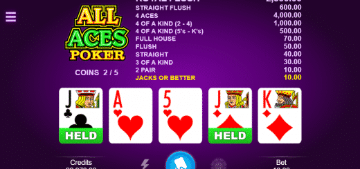 This is a screencap of the 2018 video poker All Aces. This picture illustrates the digital online poker machine in action, a screencap during the game. You can try out the poker game online for free on this page.