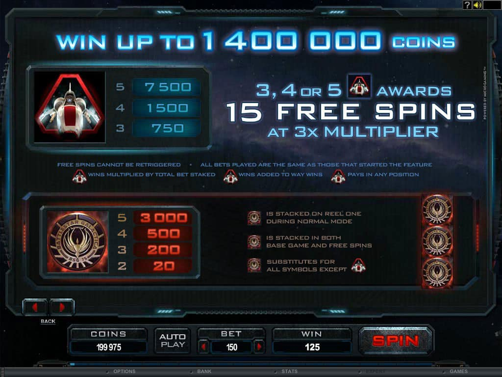 The picture shows you how to get into free spin mode in the Battlestar Galactica online slot game