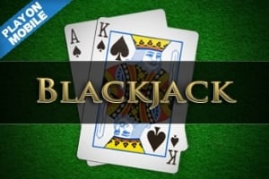 """A picture of two Blackjack cards (spade King and a spade Ace). On the top left corner it says """"play on mobile"""". The picture acts as a link. By clicking on the picture you will be taken to a webpage, where you can play Classic Blackjack online."""