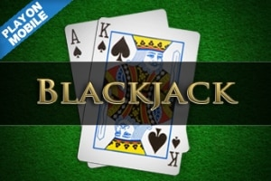 "A picture of two Blackjack cards (spade King and a spade Ace). On the top left corner it says ""play on mobile"". The picture acts as a link. By clicking on the picture you will be taken to a webpage, where you can play Classic Blackjack online."