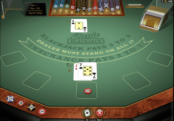 The picture shows you how to play the Classic Blackjack