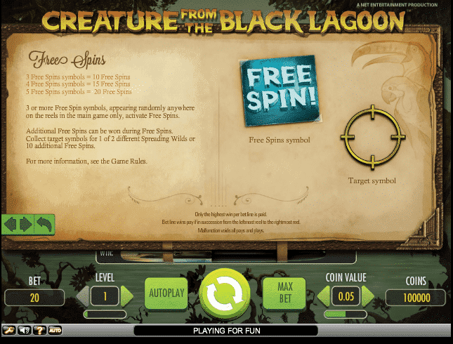 The picture shows you how to get free spins in the Creature from the Black Lagoon slots