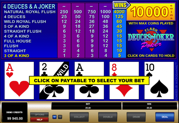 The picture shows you how to play the Deuces and Joker video poker