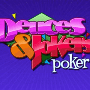 This is the official logo (used with permission) of the Deuces and Jokers 2014 digital video poker game released by Betsoft. You can play with this mobile compatible digital poker game by clicking on the picture, opens in a new window.