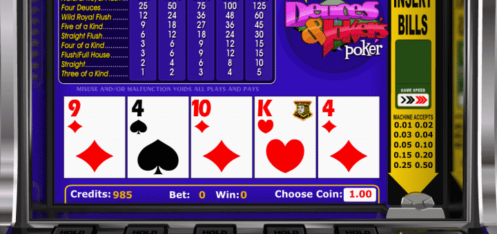 This is a screencap of the 2014 video poker game called Deuces and Jokers Video Poker by Betsoft. This picture illustrates the digital poker machine in action, how a normal player sees it during the game. You can try out the poker game online for free on this page.