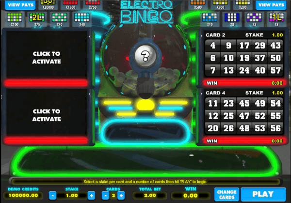 The picture shows you how to play the Electro Bingo game