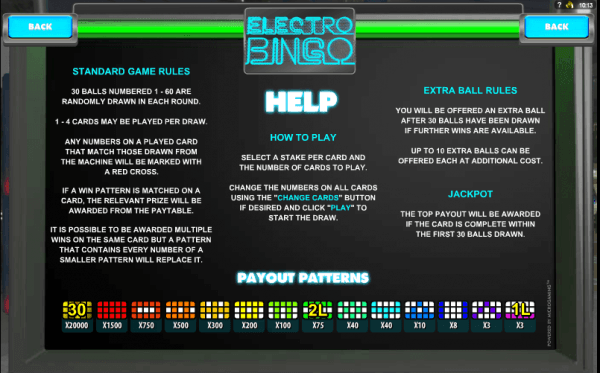 The picture shows you the rules and payouts of the Electro Bingo game