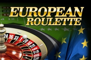 "On the picture is a Roulette table (with one zero, the traditional Roulette table used for European and French Roulette). There is also the flag of the European Union next to the Roulette table. The words ""European Roulette"" can be seen on the picture written in golden, bold letters. The picture acts as a link. By clicking on the picture you will be take to a webpage, where you can play European Roulette online."