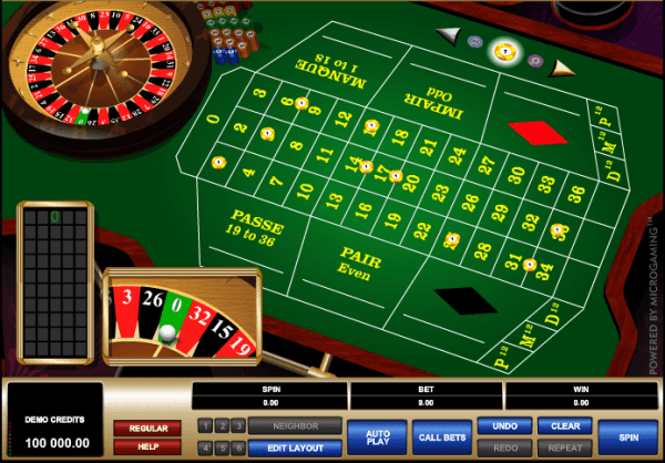 The picture shows you how to make bets in the French Roulette game