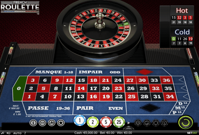 This a picture of a digital HD French Roulette table and wheel. You can read about the unique features of French Roulette compared to other types of roulette.