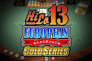 "A picture of a Blackjack table. The logo on the picture reads ""Hi Lo 13 European Blackjack Gold Series"". The picture acts as a link. By clicking on the picture you will be taken to a webpage, where you can play Hi Lo Blackjack online."