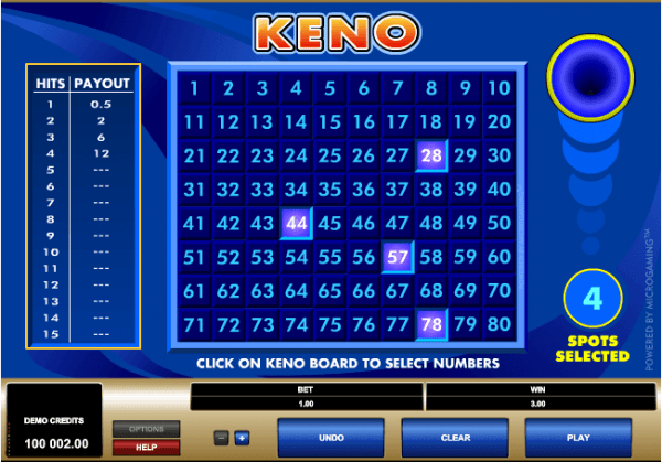 The picture shows you how to play the Jackpot Keno