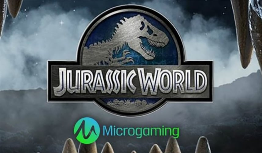 This is a picture of the logo of the Jurassic World 2017 Microgaming movie license slot. Based on the movie of the same name.