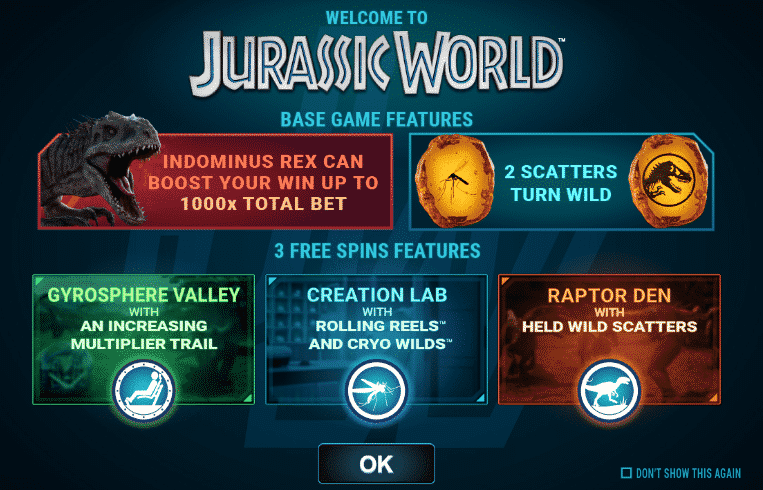 This screenshot from Jurassic World video pokies machine explains the three different free spins features.