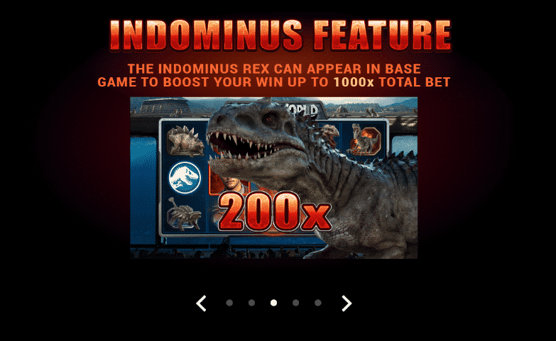 This is a screencap from Jurassic World 2017 slot. On the picture you can read about the unique Indominius Rex feature, which is part of the game.