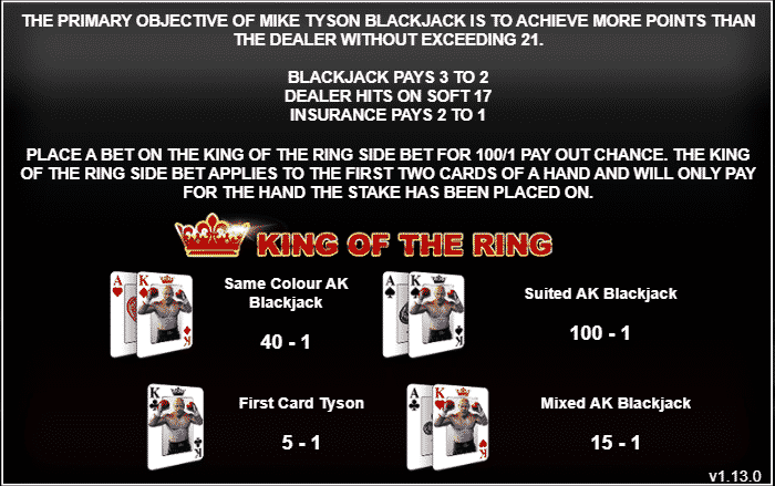 This is the detailed description of the Inspired Gaming Mike Tyson Blackjack's King of the Ring side bet special feature. You can read all about this side bet feature under the picture.
