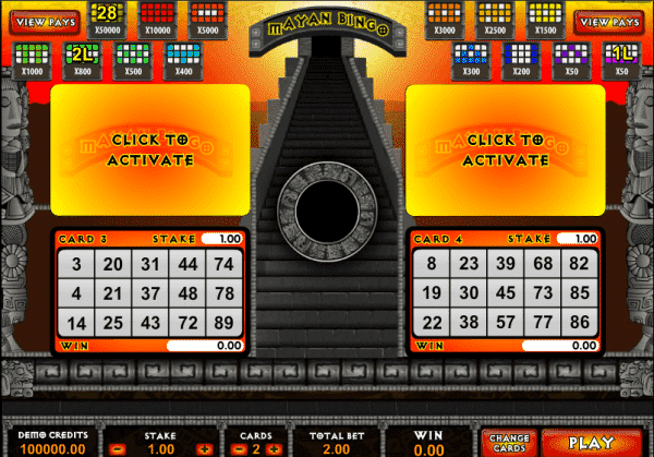 The picture shows you how to play the Mayan Bingo game