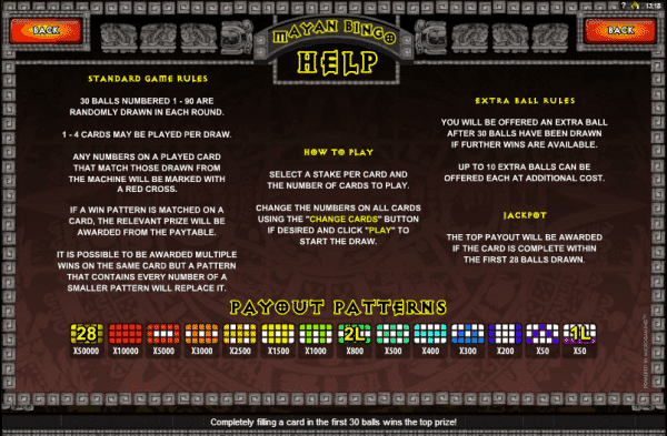 The picture shows you the rules and payouts of the Mayan Bingo game