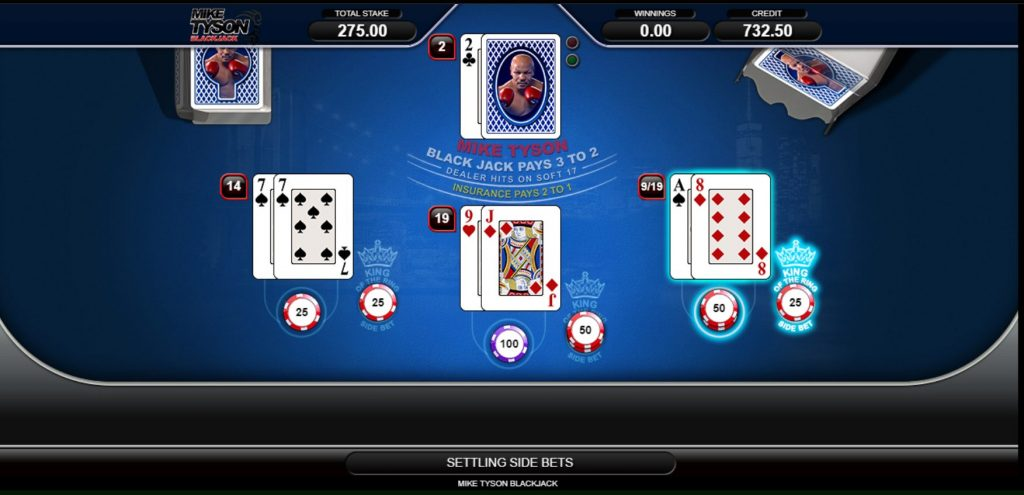The picture shows you how to play Mike Tyson Blackjack. You can read about the features and how to play the game under this picture.