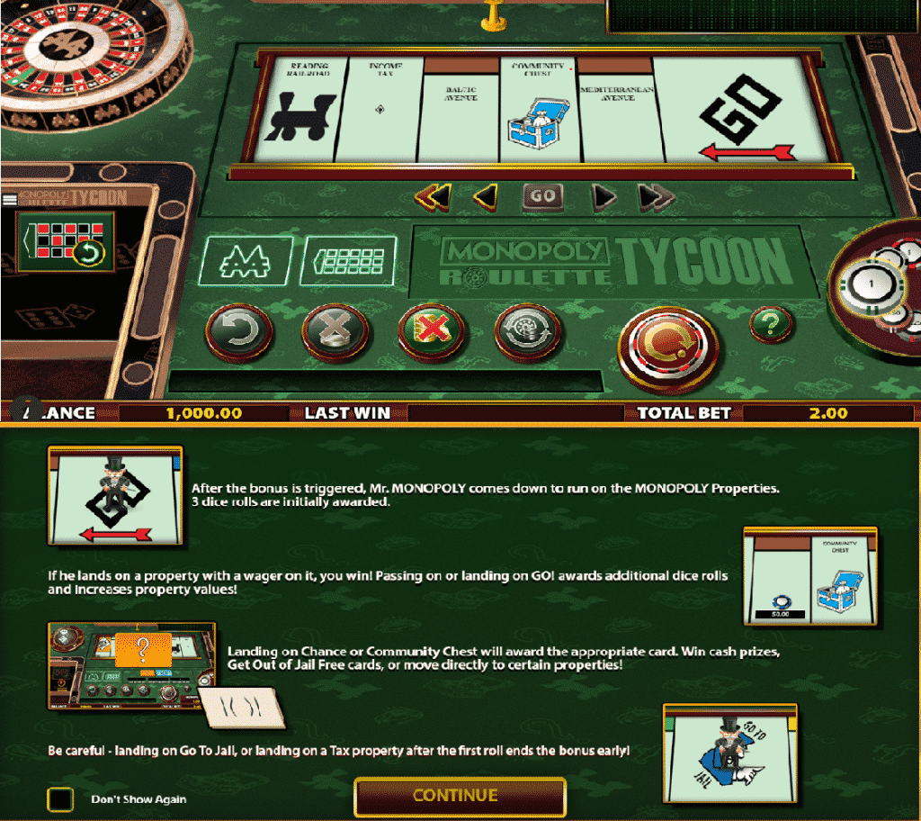 This is a screenshot of the 2016 SG Monopoly Roulette Tycoon. It shows the special monopoly feature of the game. You can read about it under the picture.