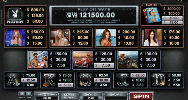 The picture shows the paytable and the winning combinations of the Playboy online slot game