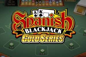 "This is the official logo of the Microgaming Quickfire Spanish Blackjack game. A picture of a Blackjack table can be seen in the background of the picture. The logo on the picture reads ""Spanish Blackjack Gold Series"". The picture acts as a link. By clicking on the picture you will be taken to a webpage, where you can play Spanish Blackjack online."