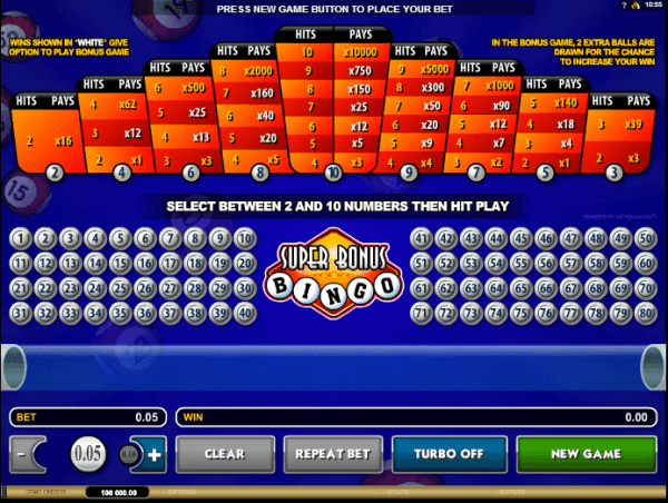 The picture shows you how to play the Super Bonus Bingo game