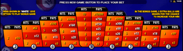 The picture shows you the payouts of the Super Bonus Bingo game