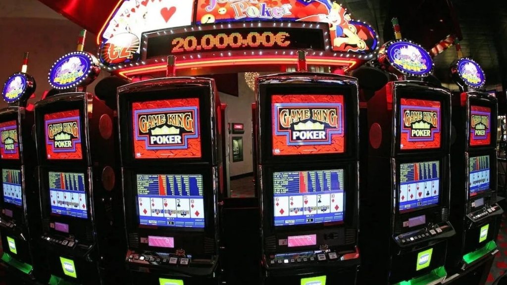 The image depicts a row of video poker machines. This image is ues on the free video poker games section. You can select and play with various video poker games on this site.