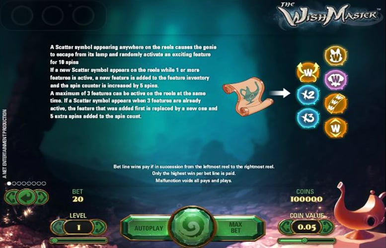 The picture shows you how to get free spins in the Wish Master slot