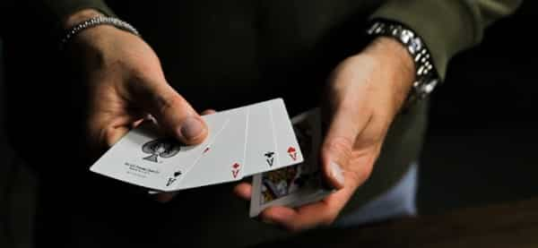 Counting cards is the single most iconic and profitable advantage gambling method. The image depicts someone - presumably - practicing card counting.