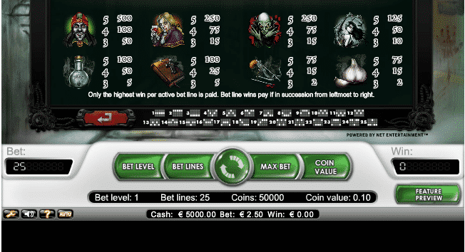 The picture shows you the paytable and the winning combinations of the Blood Suckers slot game