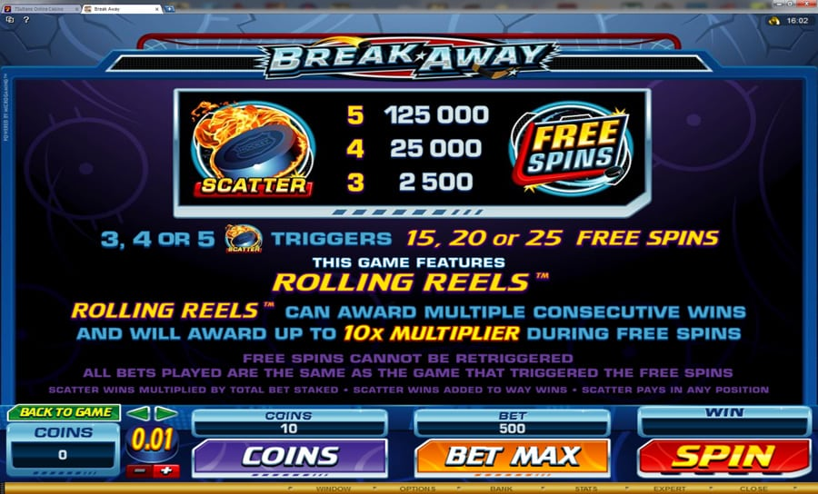 The picture shows you how to get free spins as well as how many you can get in the BreakAway slot