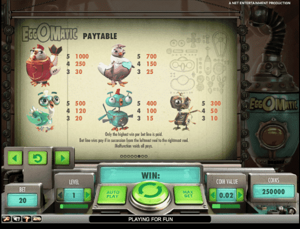 The picture shows you the paytable and the winning combinations of the EggOMatic slot