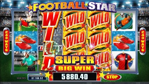 The picture shows you an ongoing bonus game in the Football Star online slot game