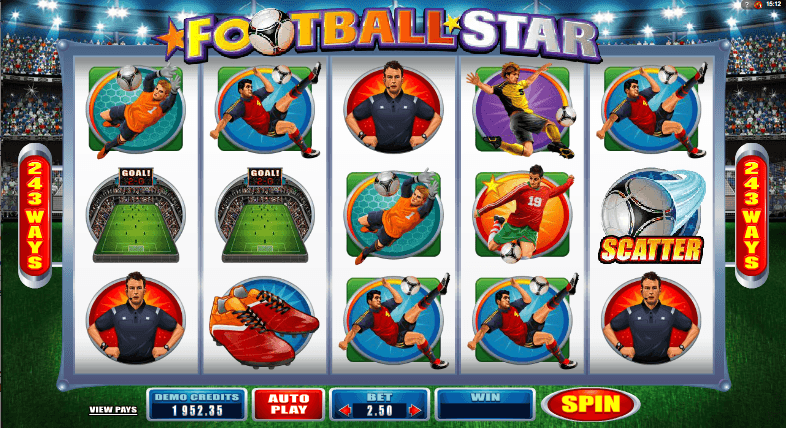 The picture shows you, that the scatter símbol will help you enter the free spin mode in the Football Star online slot