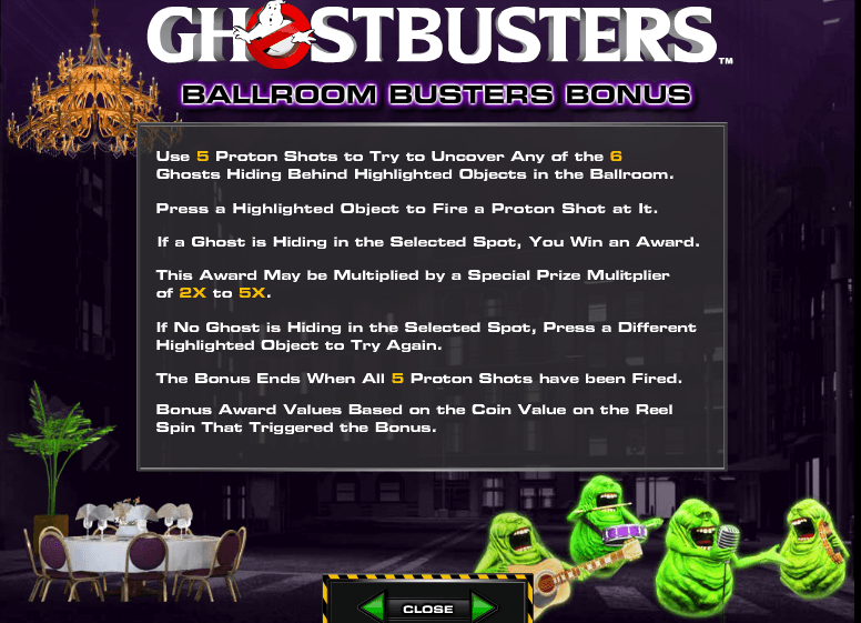 The picture shows you the bonus features of the Ghostbusters online slot