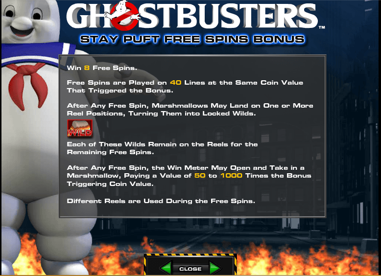 The picture shows you the free spins feature of the Ghostbusters slot game