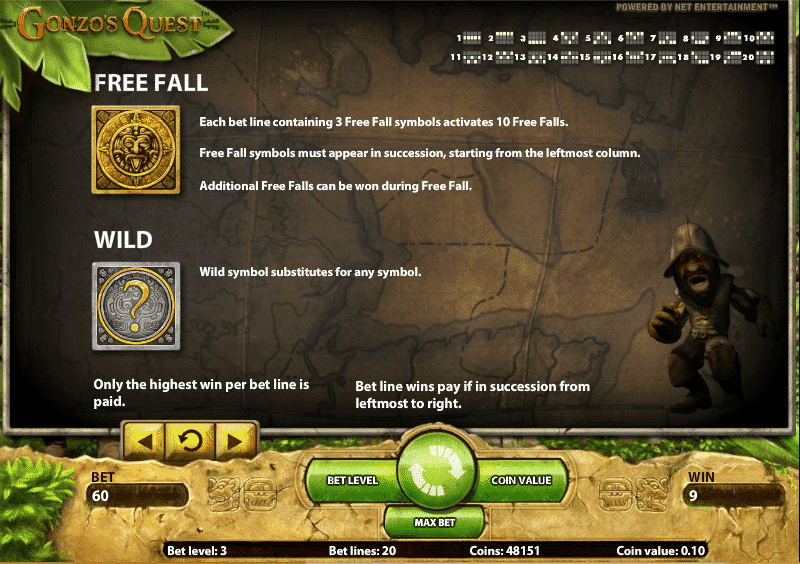 The picture shows you how to get free spins in the Gonzo's Quest slot game