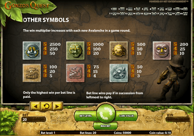 The picture shows you the paytable and the winning combinations of the Gonzo's Quest slot