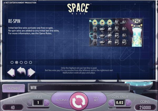 The picture shows you the bonus feature of the Space Wars slot game