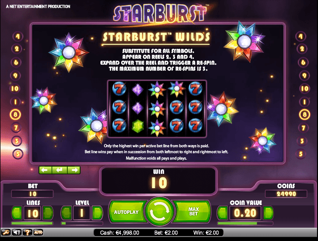 The picture shows you the bonus feature of the Starburst online slot game