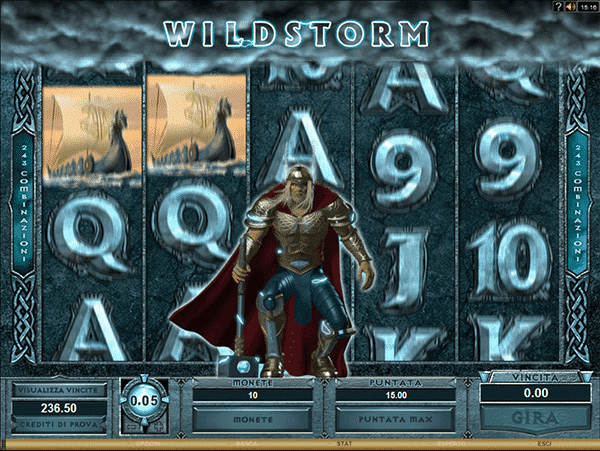 The picture shows you the wild storm bonus feature in the Thunderstruck 2 online slot game