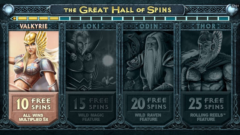 The picture shows you the free spins feature in the Thunderstruck 2 slot game