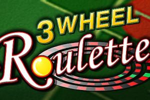 "The picture simply consists of a symbol of a Roulette wheel and the words ""3 Wheel Roulette"" over a green background. The picture acts as a link. By clicking on the picture you will be taken to a webpage, where you can play 3 Wheel Roulette."
