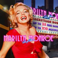 This is the 200x200 logo of the Marilyn Monroe slot from Playtech, released in 2012. The picture features Marilyn Monroe laughing in her iconic red dress with a 1960 Hollywood billboard in the background with her movies. The picture is also a link, click on it if you wish to play the slot, opens in a new tab, where you can play with the demo game.
