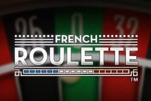 """A picture with a Roulette wheel. On the top of the Roulette wheel you can read the words """"French Roulette"""". The picture acts as a link. By clicking on the picture you will be taken to a webpage, where you can play French Roulette online."""