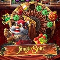 This is the 200x200 logo of the Jingle spin slot. It features Santa operating the bonus wheel of the game.